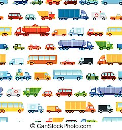 Toy car pattern, collection of various funny toy cars