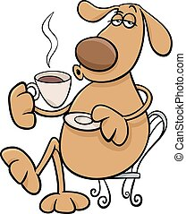 dog with coffeel cartoon illustration - Cartoon Illustration...
