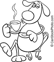 dog with coffeel coloring page - Black and White Cartoon...