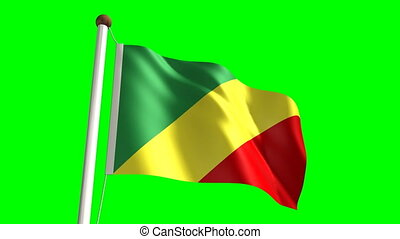 Congolese flag seamless green screen