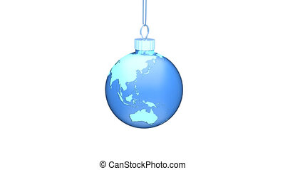 Blue Xmas Ball EARTH Loop - Christmas ball earth turns...