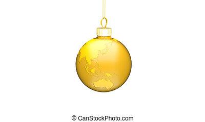 Gold Xmas Ball EARTH Loop - Christmas ball earth turns...