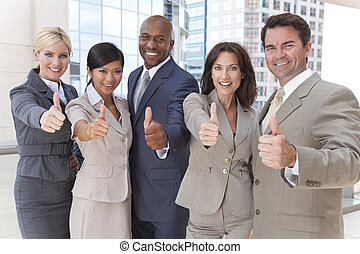 Interracial Men and Women Business Team Thumbs Up -...