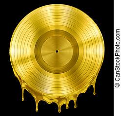 gold molten or melted record music disc award isolated on...