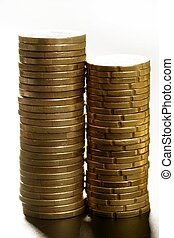 Euro coin columns, golden cash over white background at...