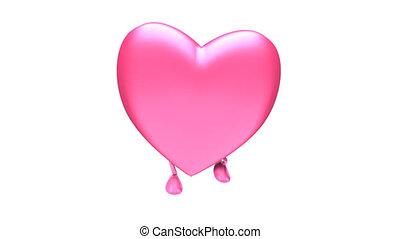 Walking pink heart Loop