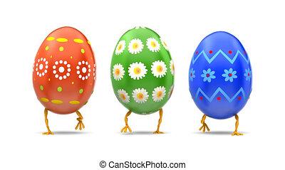 Walking Eggs Front Loop - Beautiful Easter eggs walking...