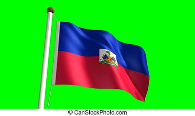 Haitian flag seamless green screen