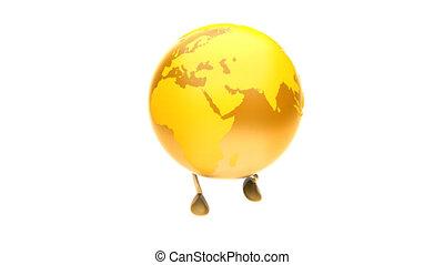 Walking Christmas ball Earth GOLD Loop, luma matte