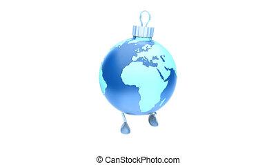 Walking Christmas ball Earth , Loop, luma matte