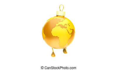 Walking Christmas ball Earth GOLD Loop, luma matte