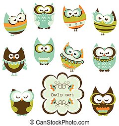owls set - set of owls