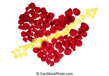Cupid arrow in a red rose petals heart shape, love symbol