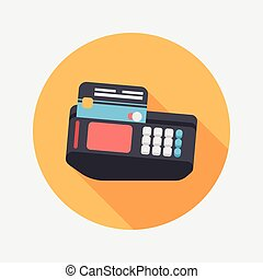 Shopping credit card machine flat icon with long...