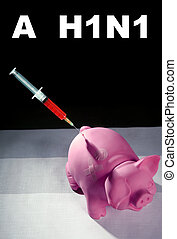 Injection to a pig,A h1n1 vaccine health metaphor