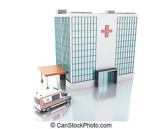 Hospital building and Ambulance. 3d illustration - modern...