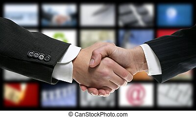 handshake over video tv screen technology and communication...