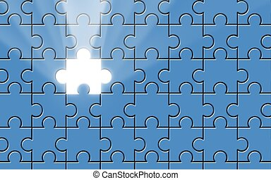 Blue puzzle with missing piece and light beam - Blue puzzle...