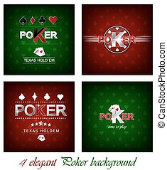 Set of poker vector background with card symbol, design for...