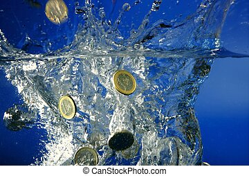 Euro coins fallin down to water, metaphor of bankruptcy,...