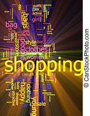 Shopping word cloud glowing