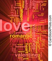 Love word cloud glowing