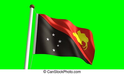 Papua New Guiena flag seamless green screen