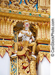 Hanuman Sculpture - Hanuman sculpture at Thai temple in...