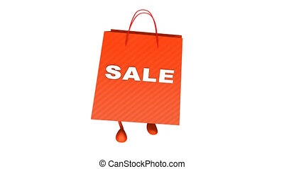 Walking  shopping bag with sale tex