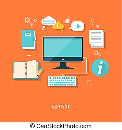 Content concept monitor with keyboard and documents in flat...