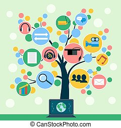 Internet application icons tree concept