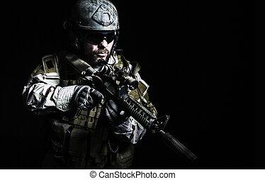 barbudo, especial, fuerzas, soldado,