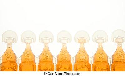 ampoule im plastic for liquid orange medicine