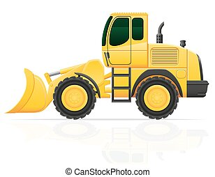 bulldozer for road works vector illustration isolated on...