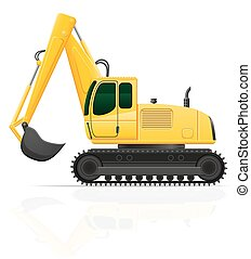 excavator for road works vector illustration isolated on...
