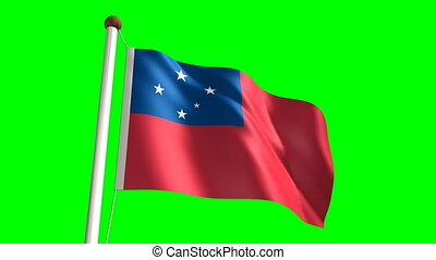 Samoa flag seamless green screen
