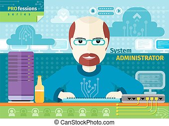 System administrator with computer in data centre -...