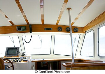 Classic fishing boat white and wood interior - Classic...