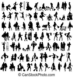 set of silhouettes of shoppers