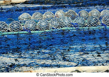 Fishing boat equipment detail: net, arts macro....