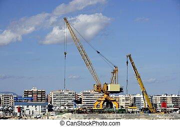 Crane in Santa Pola harbor, Spain
