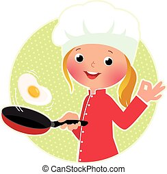 Chef flipping an fried eggs or a om