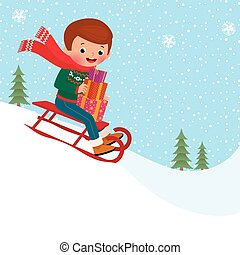 Child sledding - A child rides a toboggan down holding...