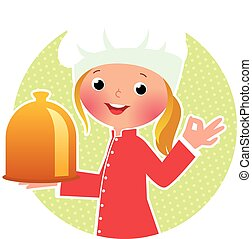 Chef girl with hot plate - Stock vector illustration of a...