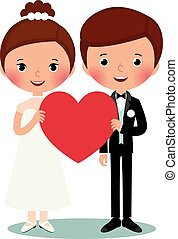 Groom and bride - Illustration of bride and groom on a white...