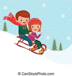 Kids sledding - Illustration of boy and girl children...