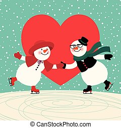 Lovers snowmen at the ice rink