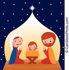 Nativity scene - Nativity Scene Mary, Joseph and baby Jesus