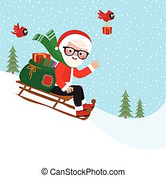 Santa Claus with a bag of gifts on
