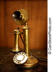 Vintage golden brass spanish old telephone